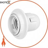 Патрон пластиковый e.lamp socket with nut.E27.pl.white, Е27 с гайкой, белый