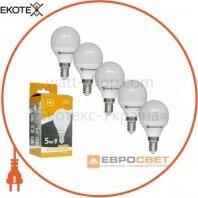 Набор из 5шт Лампа светодиодная ЕВРОСВЕТ 5Вт 3000К Р-5-3000-14 E14