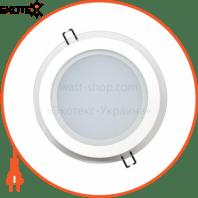 Светильник врезной круг + стекло, корпус металл d-200mm ip 20 SMD LED 15W 4200K 1150Lm, цвет - белый (220-240)