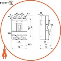 Enext i0010021 силовой автоматический выключатель e.industrial.ukm.100s.50, 3р, 50а