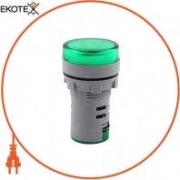 Арматура светосигнальная с индикатором напряжения e.ad22.i.12-500.green Ø22мм АС зеленая