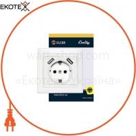 Розетка с заземлением с 2 USB Emily 9215 белый ELCOR