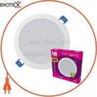 Светильник светодиодный встраиваемый Disk-V-9 9W 4000К IP20 белый 26-0085