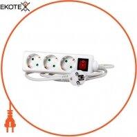Удлинитель e.es.3.3.z.s.b 3 гнезда, 3м c з/к выключателем, baby protect