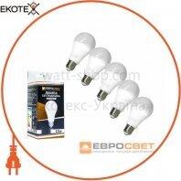 Набор из 5шт Лампа светодиодная ЕВРОСВЕТ 15Вт 4200К A-15-4200-27 Е27