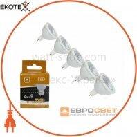 Набор из 5шт Лампа светодиодная ЕВРОСВЕТ 4Вт 4200К G-4-4200-GU5.3