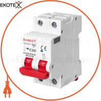 Модульний автоматичний вимикач e.mcb.stand.60.2.C20, 2р, 20А, C, 6кА