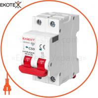 Модульний автоматичний вимикач e.mcb.stand.60.2.C50, 2р, 50А, C, 6кА