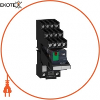 Miniature plug-in relay pre-assembled, 6 A, 4 CO, lockable test button, separate terminal socket, 230 V AC