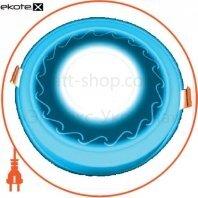 DownLight с подсветкой 3+3W встраиваемый круг, волна синий