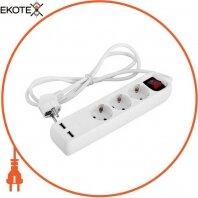Удлинитель e.es.3.1.5.z.s.b.2.usb 3 гнезда, 1.5м, с USB-зарядкой, c выключателем, baby protect