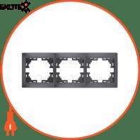 Рамка 3-а горизонтальна б/вст 701-2930-148 Колір Темно-сірий/Перлинно-білий металік 10АХ 250V~