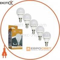 Набор из 5шт Лампа светодиодная ЕВРОСВЕТ 5Вт 4200К Р-5-4200-14 E14
