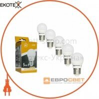 Набор из 5шт Лампа светодиодная ЕВРОСВЕТ 5Вт 4200К Р-5-4200-27 E27
