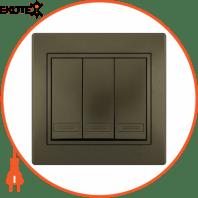 Выключатель тройной 701-3131-109 Цвет Светло-коричневый металлик 10АХ 250V~