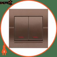 Выключатель двойной с подсветкой 702-3131-112 Цвет Светло-коричневый металлик 10АХ 250V~