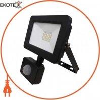 Прожектор с дат. движения SMD LED 20W 6400K 1600Lm 175-250V IP65 черный