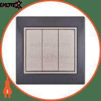 Выключатель тройной 701-2930-109 Цвет Темно-серый/Жемчужно-белый металлик 10АХ 250V~