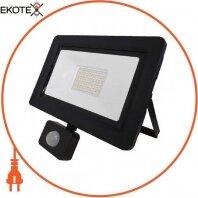 Прожектор с дат. движения SMD LED 50W 6400K 4000Lm 175-250V IP65 черный