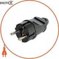 Вилка бытовая e.plug.straight.004.16,с з/к, 16А прямая черная