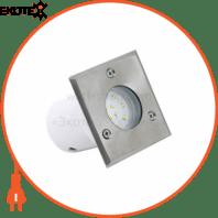 Светильник тротуарный LED 1,2W 75Lm 220-240V IP67 95х95мм.квадратний мат.хром белое св.