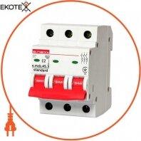 Модульный автоматический выключатель e.mcb.stand.45.3.C2, 3р, 2А, C, 4,5 кА