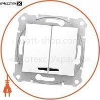 Sedna Переключатель 1 полюсный для 2 цепей 10AX световой индикатор, без рамки белый