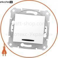 Sedna Переключатель 1 полюсный двунаправленный с 16AX индикатором, без рамки белый