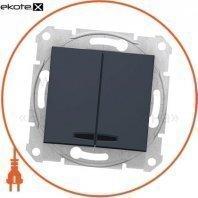 Sedna Переключатель 1 полюсный для 2 цепей 10AX световой индикатор, без рамки графит