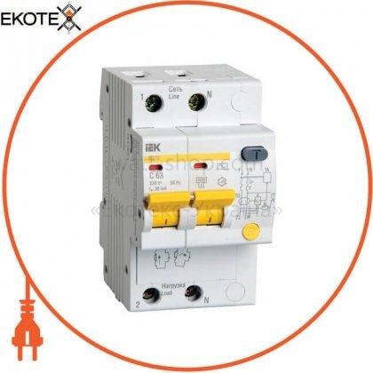 Дифференциальный автоматический выключатель АД12 2Р 63А 30мА IEK