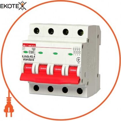 Enext s002052 модульный автоматический выключатель e.mcb.stand.45.4.c50, 4р, 50а, c, 4,5 ка