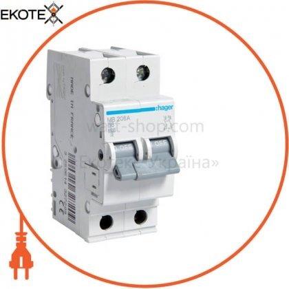 Hager MB206A автоматический выключатель 2p 6ka b-6a 2m
