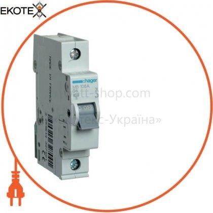 Hager MB106A автоматический выключатель 1p 6ka b-6a 1m