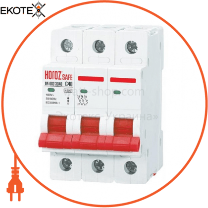 Horoz Electric 114-002-3040 модульный автоматический выключатель 3р 40а c 4,5ка 400v