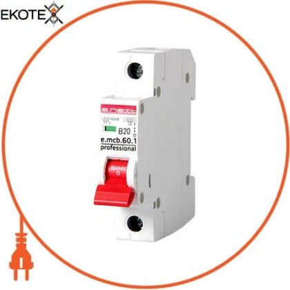 Enext p041009 модульный автоматический выключатель e.mcb.pro.60.1.b 20 new, 1р, 20а, в, 6ка, new