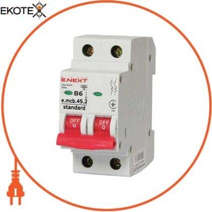 Enext s001015 модульный автоматический выключатель e.mcb.stand.45.2.b6, 2р, 6а, в, 4,5 ка