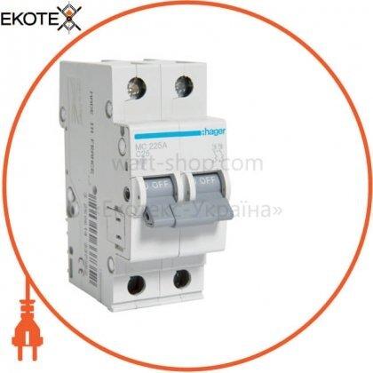 Hager MC225A автоматический выключатель 2p 6ka c-25a 2m