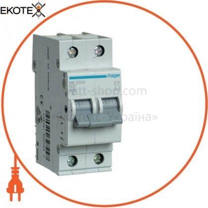 Hager MB220A автоматический выключатель 2p 6ka b-20a 2m
