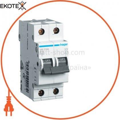 Hager MB216A автоматический выключатель 2p 6ka b-16a 2m