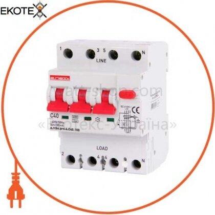 Enext p0720024 выключатель дифференциального тока с функцией защиты от сверхтоков e.rcbo.pro.4.с40.100, 3p+n, 40а, с, тип а, 100ма