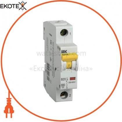 Автоматический выключатель ВА47-60 1Р 20А 6кА B IEK