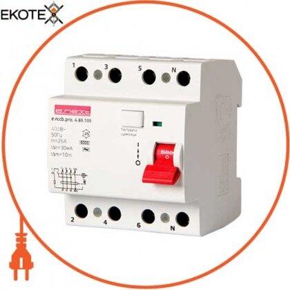 Enext p003025 выключатель дифференциального тока e.rccb.pro.4.80.100, 4р, 80а, 100ма