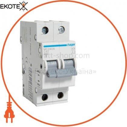Hager MC240A автоматический выключатель 2p 6ka c-40a 2m